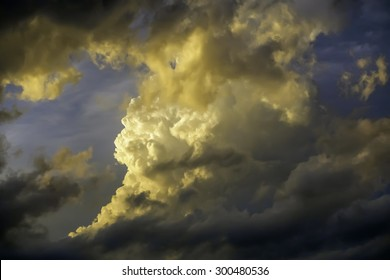 Stormy sky at sunset in summer