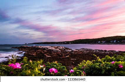 Stormy summer sunset sky over Long Cove in Bristol, Maine