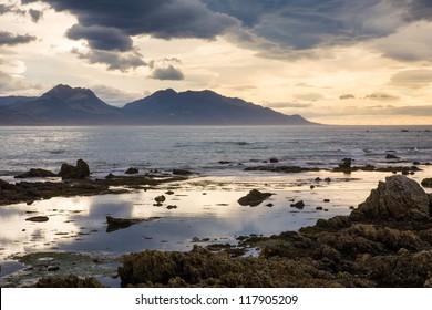 Stormy sunrise kaikoura on the South Island of New Zealand.