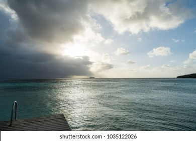 Stormy sunset at the beach   Views around the small Caribbean island of Curacao