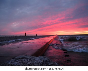 Stormy Sunset In Grand Haven, Michigan