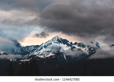 A Stormy sunset over Mt Larrabee