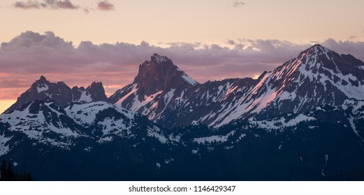 A Stormy sunset over Mt Larrabee and Tomyhoi Peak