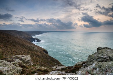 Stormy sunset sky over St Agnes Head on the north coast of Cornwall