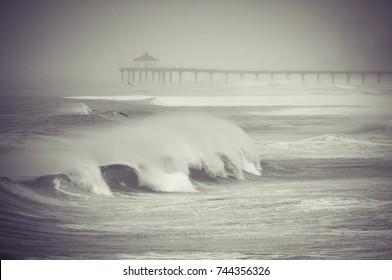Stormy Waves in Manhattan Beach California