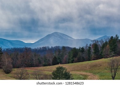Stormy Weather Clouds Approaching Over Wintery Peaks in Appalachia