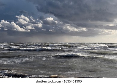Stormy weather cloudy sky sea waves