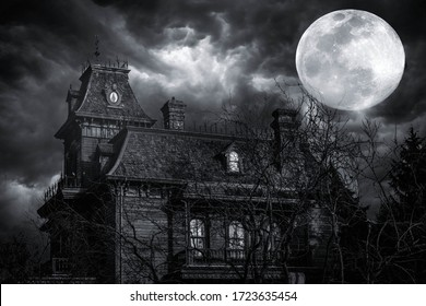 In a stormy weather. Old american type wooden house. Horror house