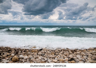 Stormy weather on the Black Sea in the Crimea