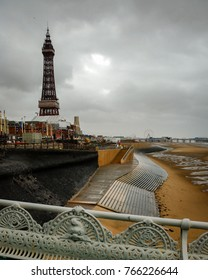 Stormy weather on Blackpool pleasure beach, view from north pier on south, September England UK, Blackpool