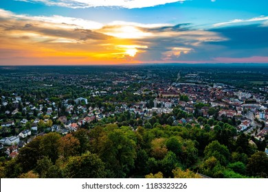Stormy Weather over Karlsruhe, photographed from Turmberg, Durlach, Germany, 2018.