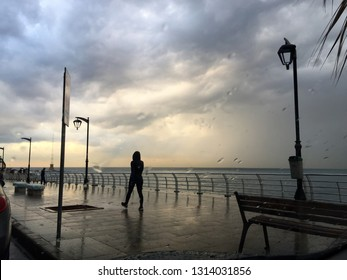 Stormy winter day at Beirut Coastal Line in Lebanon