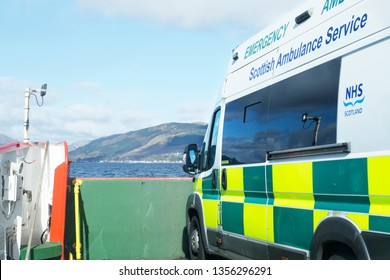 Stornoway, Hebrides / Scotland - March 31st 2019 : NHS Scottish ambulance emergency service on ferry ship transported on sea to Scottish island for remote population health care