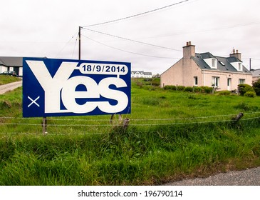 """STORNOWAY, SCOTLAND, UK, May 25 2014: Billboard with """"Yes"""" written on it. Refers to the referendum that will take place on the 18th September 2014 on whether Scotland should be an independent country."""