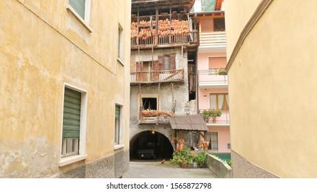 Storo, Trento, Trentino-Alto Adige / Italy - August 23 2019: Barnyard with chicken.