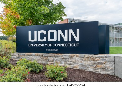 STORRS, CT/USA - SEPTEMBER 26, 2019: Entrance and sign to the University Connecticut.