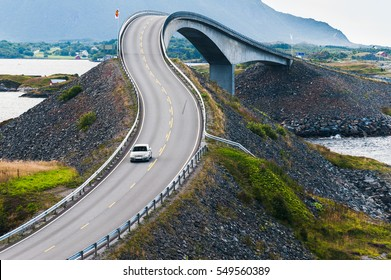Storseisundet bridge, the main attraction of the Atlantic road. Norway. The county of More og Romsdal.
