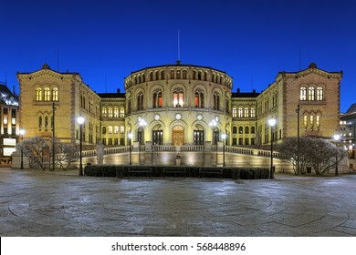 Storting building, the seat of the parliament of Norway, in Oslo in night