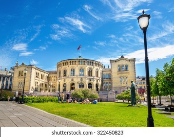 Stortinget, Parliament of Norway Oslo in beautiful spring day, Oslo, Norway