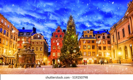Stortorget square decorated to Christmas time at night, Stockholm, Sweden.