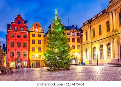 Stortorget square in Old Town (Gamla Stan) decorated for Christmas time at night, Stockholm, Sweden