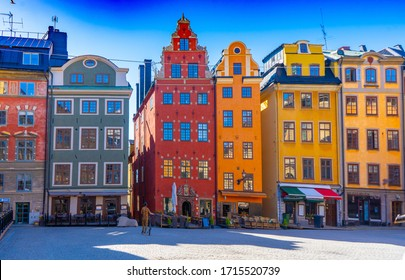 Stortorget (the Grand Square) is a public square in Gamla Stan, the old town in central Stockholm, Sweden. View with old houses.