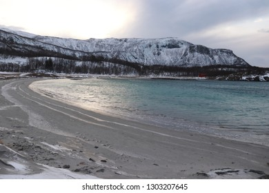 STORVOLLEN, NORDLAND COUNTY / NORWAY - FEBRUARY 03 2019:  Ausvika white sand beach is located on the north side of Bodø, Norway