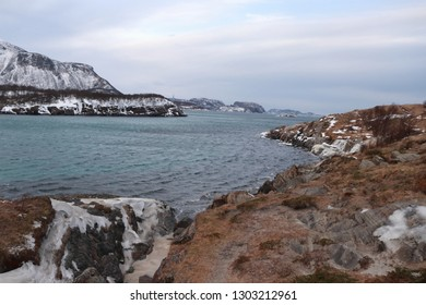 STORVOLLEN, NORDLAND COUNTY / NORWAY - FEBRUARY 03 2019:  A view on the сoast line of the Norwegian Sea, Ausvika beach