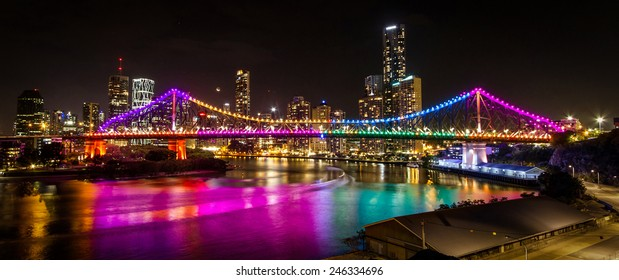 The Story Bridge in Brisbane Australia ablaze in colour during the G20 Cultural celebrations in October and November 2014