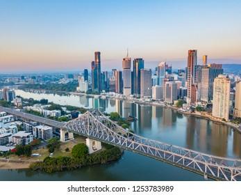 The Story Bridge in Brisbane City the capital of Queensland at sunrise - Brisbane, Queensland, Australia- December 2018