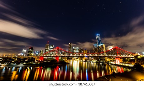 Story Bridge and Brisbane Skyline in the Night from the Wilson Outlook Reserve in New Farm, Brisbane, QLD, Australia