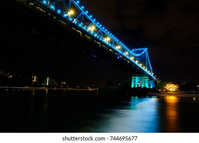 Story Bridge at night with bright colorful lights