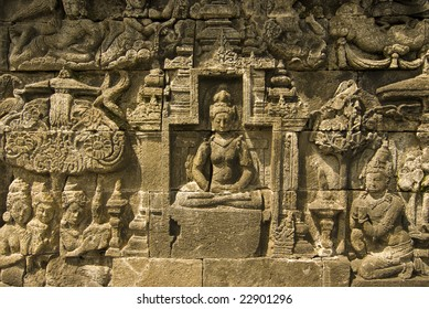 story of buddha in a wall in borobudur, indonesia