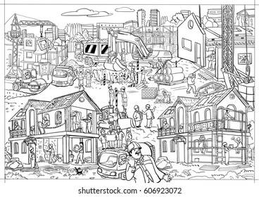The story in the picture - a coloring for children. Large building