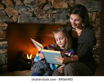 Story Time with Mother and Daughter in Front of Fireplace