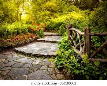 Storybook garden path in the Shakespeare Garden in Central Park New York City