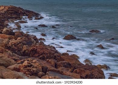 Stounes and water. Mediterranean sea.
