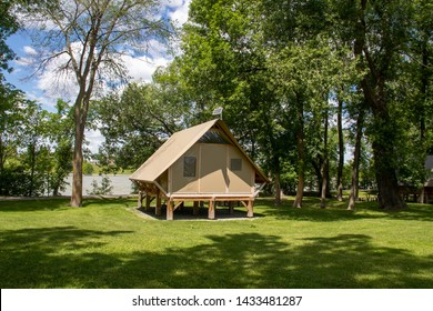 St-Ours Canada - 22 June 2019 : oTENTik Camping at Saint-Ours Canal National Historic Site park OTentik camping are tent unit ready-to-camp accommodation on Darvard Island at the Richelieu river
