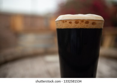 Stout beer with foam