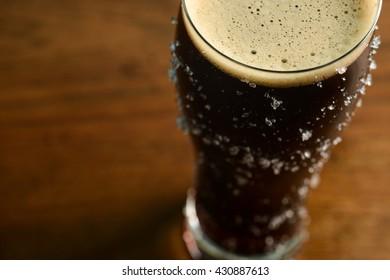 Stout Beer on Bar Top Macro