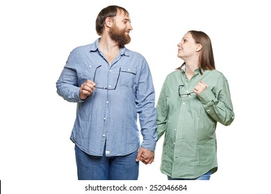 stout man with tummy and pregnant woman on a white background, isolated on a white background