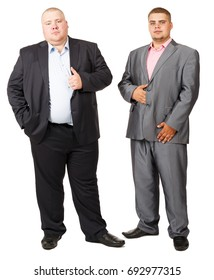 Stout Person. White isolated background. Fat man. Two fat man standing belly a together on white background. Two fat guy in suits. Two serious guy in a jacket on white isolated background. Big guys