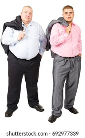 Stout Person. White isolated background. Fat man. Two fat man standing belly a together on white background. Two fat guy in suits.  Big guys