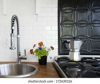 Stove top and sink in country kitchen