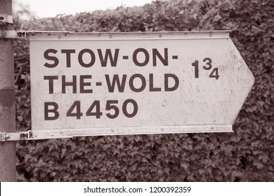 Stow on the Wold Signpost, Cotswolds; England; UK in Black and White Sepia Tone