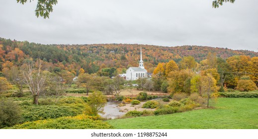 Stowe Church Vermont Fall Colors