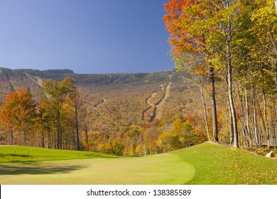 Stowe Mountain Resort ski trails during fall foliage season, Stowe Vermont, USA