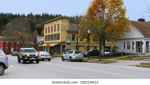 STOWE, VERMONT/UNITED STATES- NOVEMBER 3, 2018: A Street scene in Stowe, Vermont