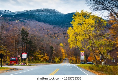Stowe VT, USA-20 October 2019 : View of Stowe mountain road at fall Mount Mansfield ahead