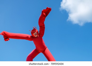 ST.PAUL, MN, USA - AUGUST, 2017: Inflatable Wacky Waving Dancing Tube Man at Minnesota State Fair - the largest state fair in the United States.